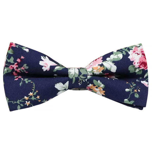 Blue Floral Bow Tie and Pocket Square Set