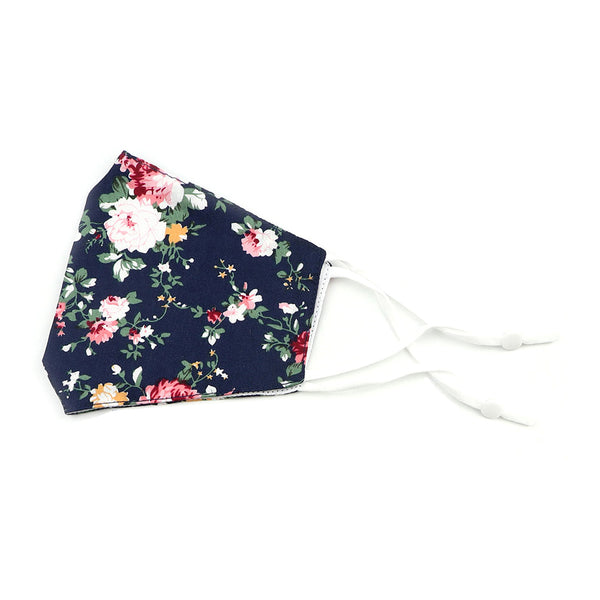 Blue Floral Cotton Face Mask