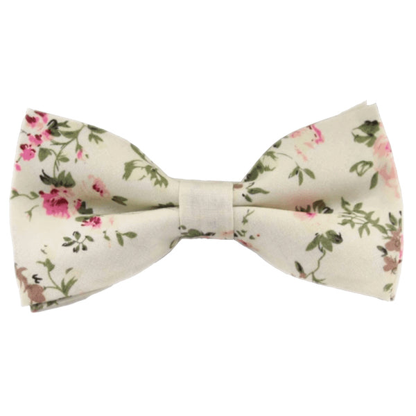 Olivia Cream Floral Bow Tie, Skinny Tie and Pocket Square Set