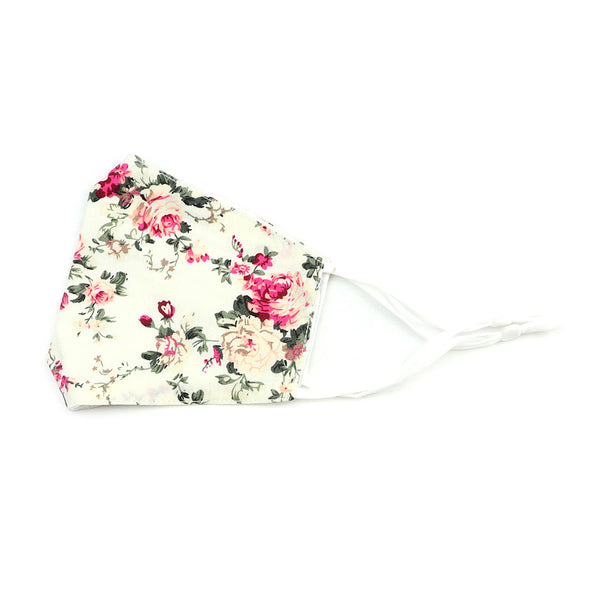 Olivia Cream Floral Cotton Face Mask