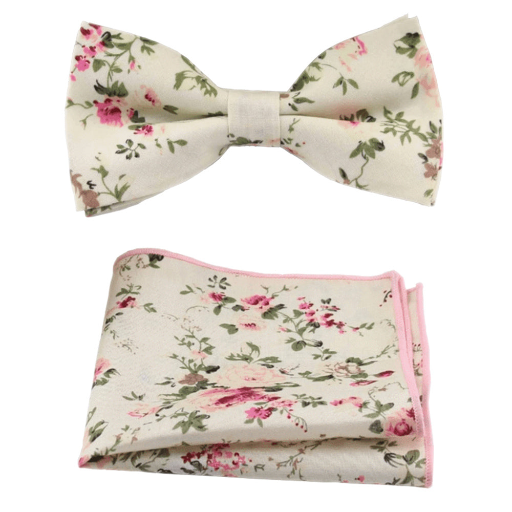 Olivia Cream Floral Bow Tie and Pocket Square | Dickie Bow