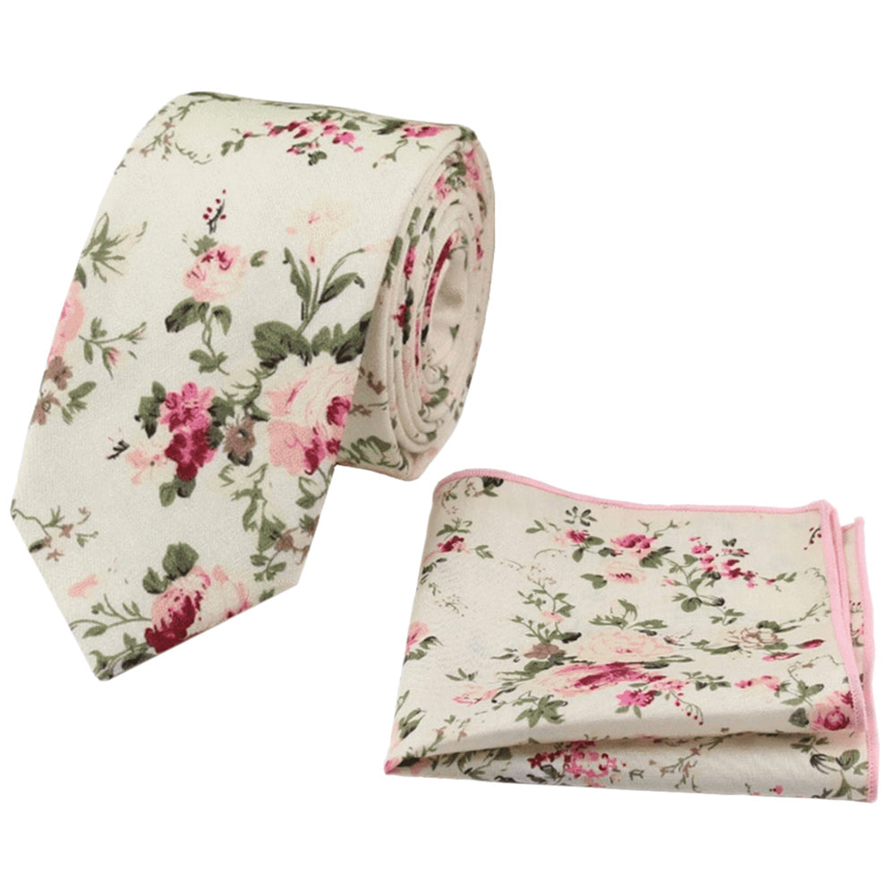 Olivia Cream Floral Tie and Pocket Square Set | Dickie Bow