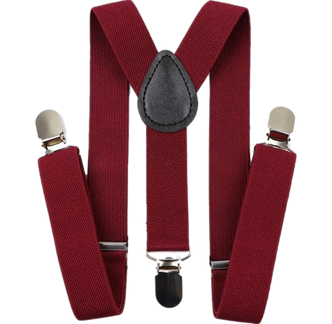Burgundy Red Boys Braces | Dickie Bow