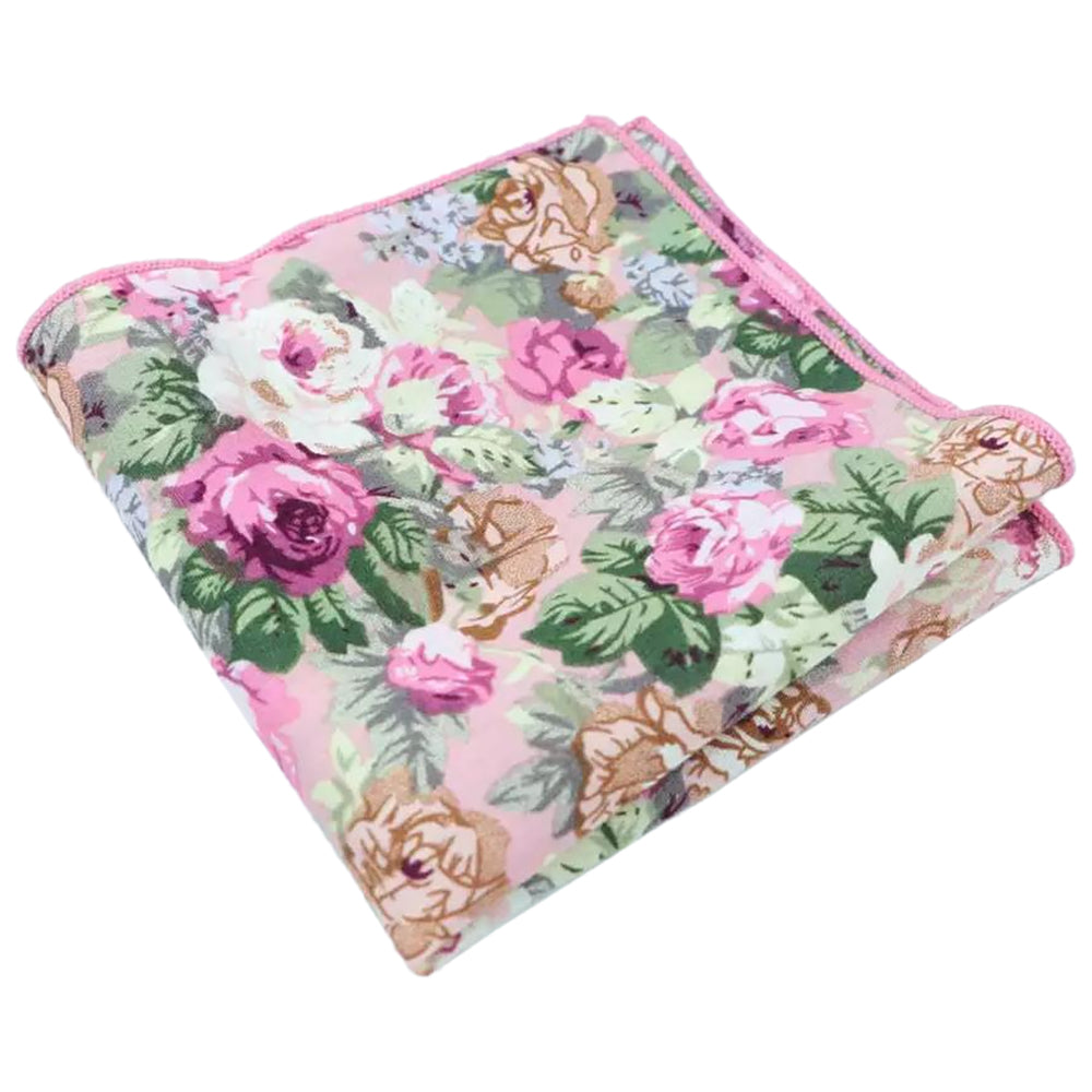 Penelope Pink Floral Cotton Pocket Square