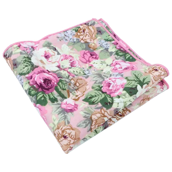 Penelope Pink Floral Tie and Pocket Square Set