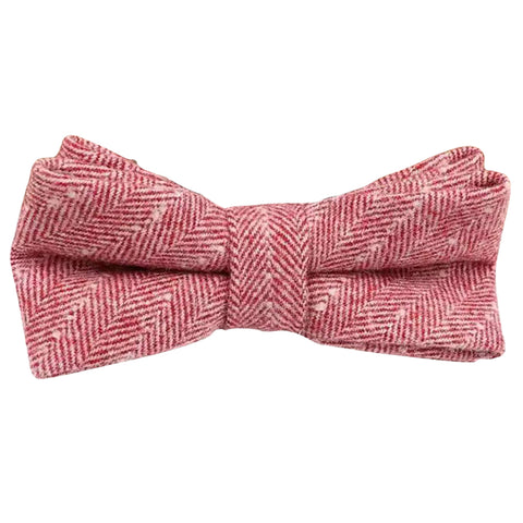 Ralphy Red Herringbone Tweed Bow Tie