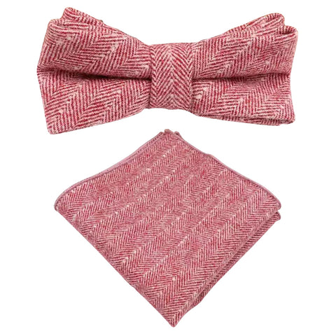 Ralphy Red Herringbone Tweed Bow Tie and Pocket Square Set
