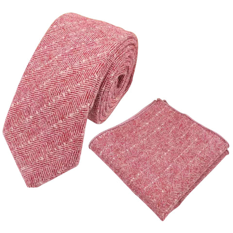 Ralphy Red Herringbone Skinny Tweed Tie and Pocket Square Set