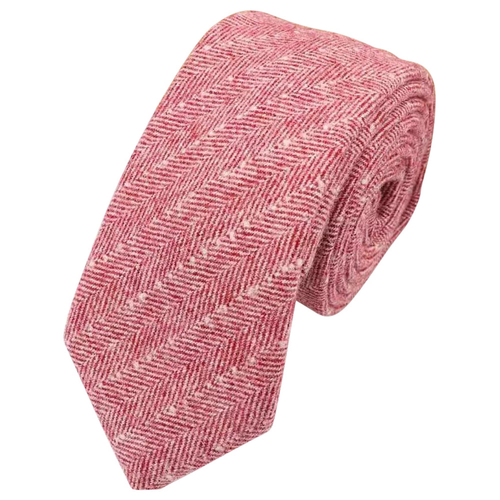 Ralphy Red Herringbone Tweed Tie