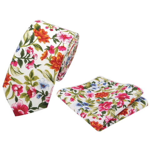 Reya White, Red & Green Floral Cotton Tie and Pocket Square Set