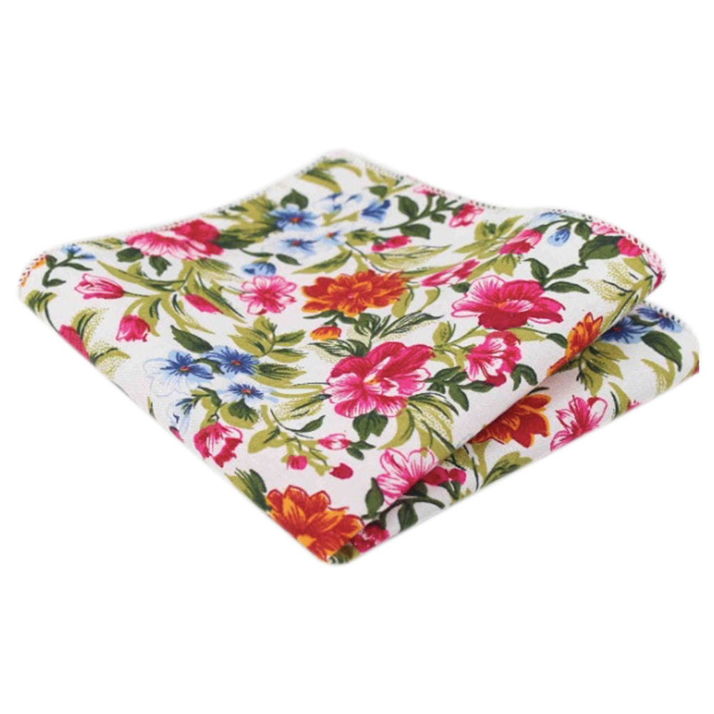 Reya White, Red & Green Floral Cotton Pocket Square