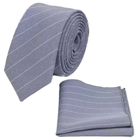 River Grey Stripe Tie and Pocket Square