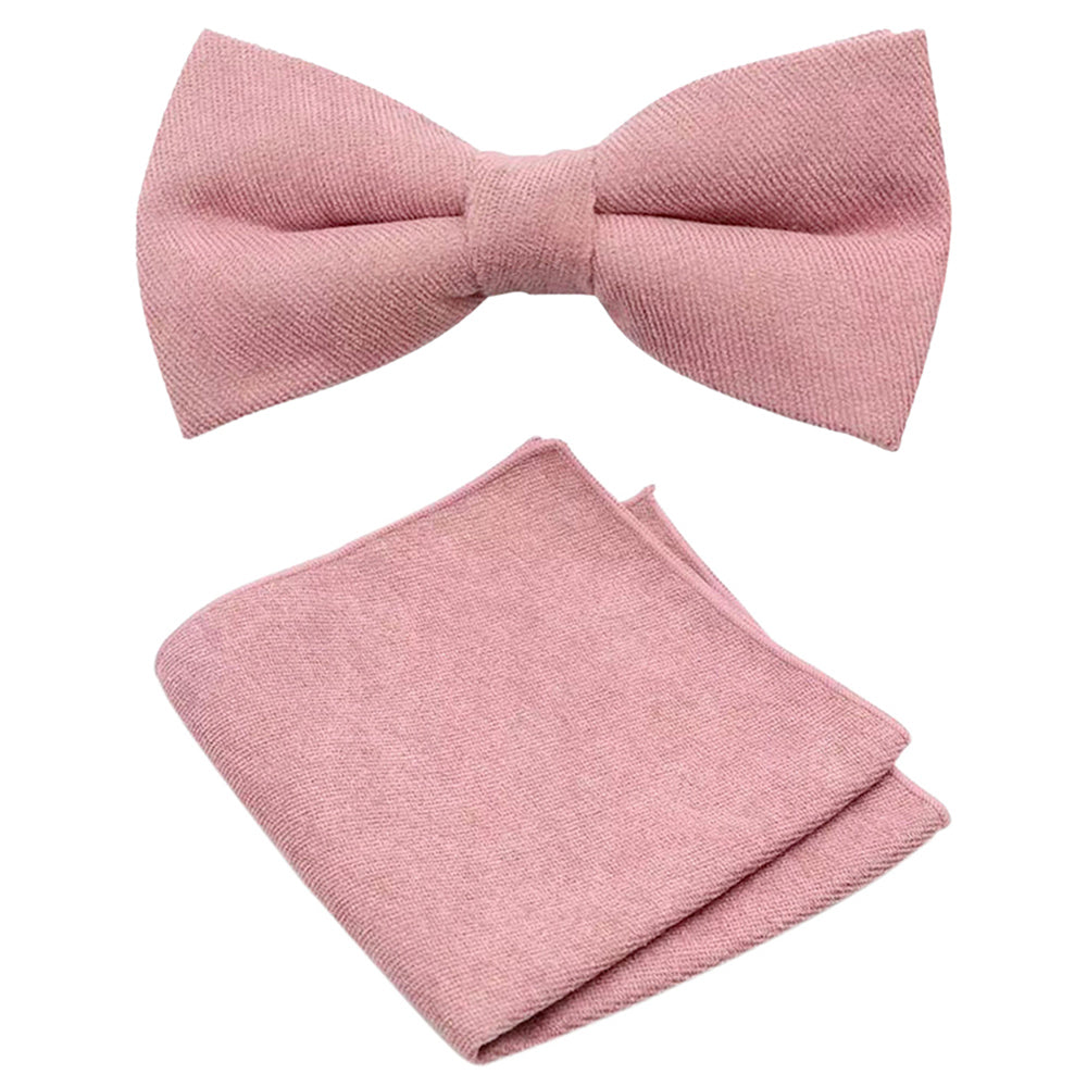 Rose Dusty Rose Pink Cotton Bow Tie and Pocket Square Set