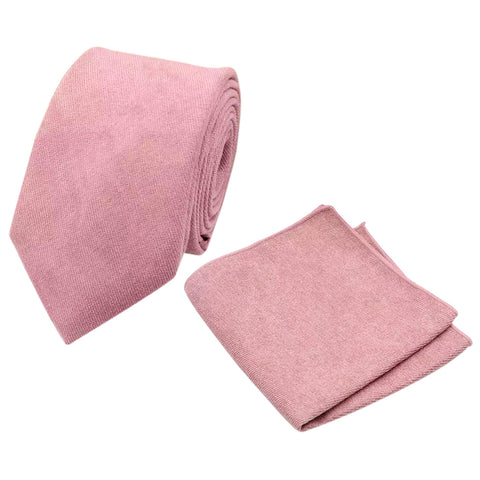 Rose Dusty Rose Pink Cotton Tie and Pocket Square Set