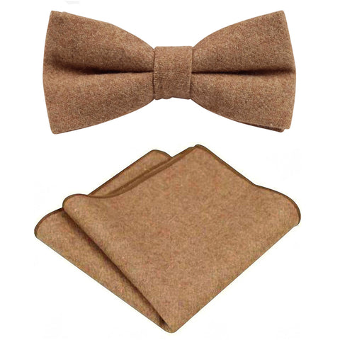 Rufus Brown Tan Tweed Bow Tie & Pocket Square Set