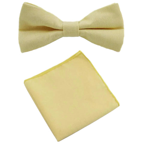Soleil Yellow Cotton Bow Tie and Pocket Square Set