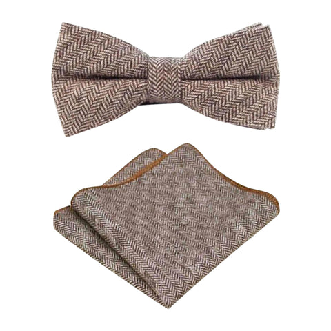 Stanley Brown Tweed Bow Tie & Pocket Square Set