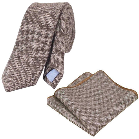 Stanley Brown Skinny Tweed Tie & Pocket Square Set