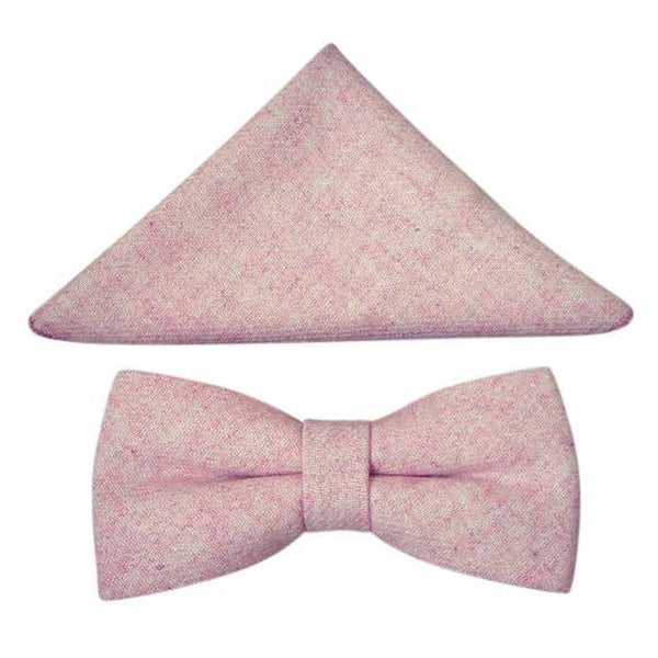 Tallulah Dusty Pink Adult Wool Bow Tie, Pocket Square and Slate Grey Braces Set