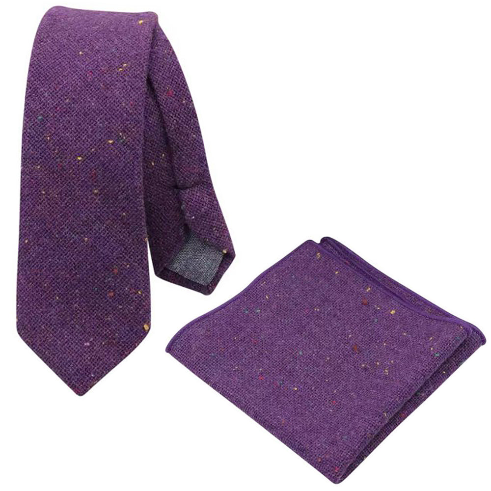 Theo Purple Flecked Tweed Tie and Pocket Square Set