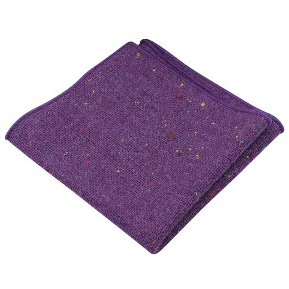 Theo Purple Flecked Tweed Pocket Square | Dickie Bow