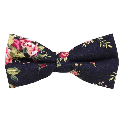 Vesper Black Floral Cotton Bow Tie
