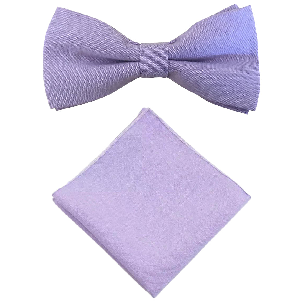 Violet Purple Cotton Bow Tie and Pocket Square Set