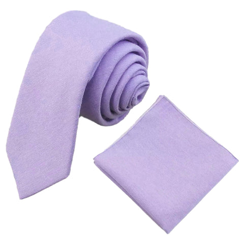 Violet Purple Cotton Tie and Pocket Square Set | Dickie Bow