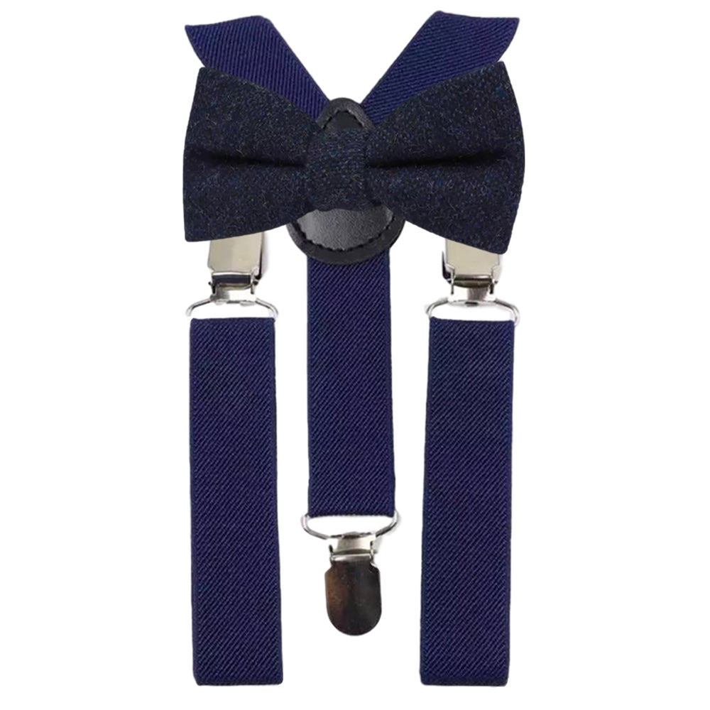 Arthur Boys Navy Blue Tweed Bow Tie and Navy Blue Braces