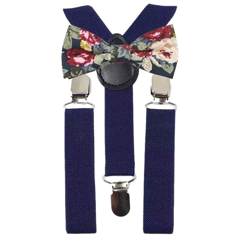 Bobby Boys Blue Floral Cotton Bow Tie and Navy Blue Braces | Dickie Bow