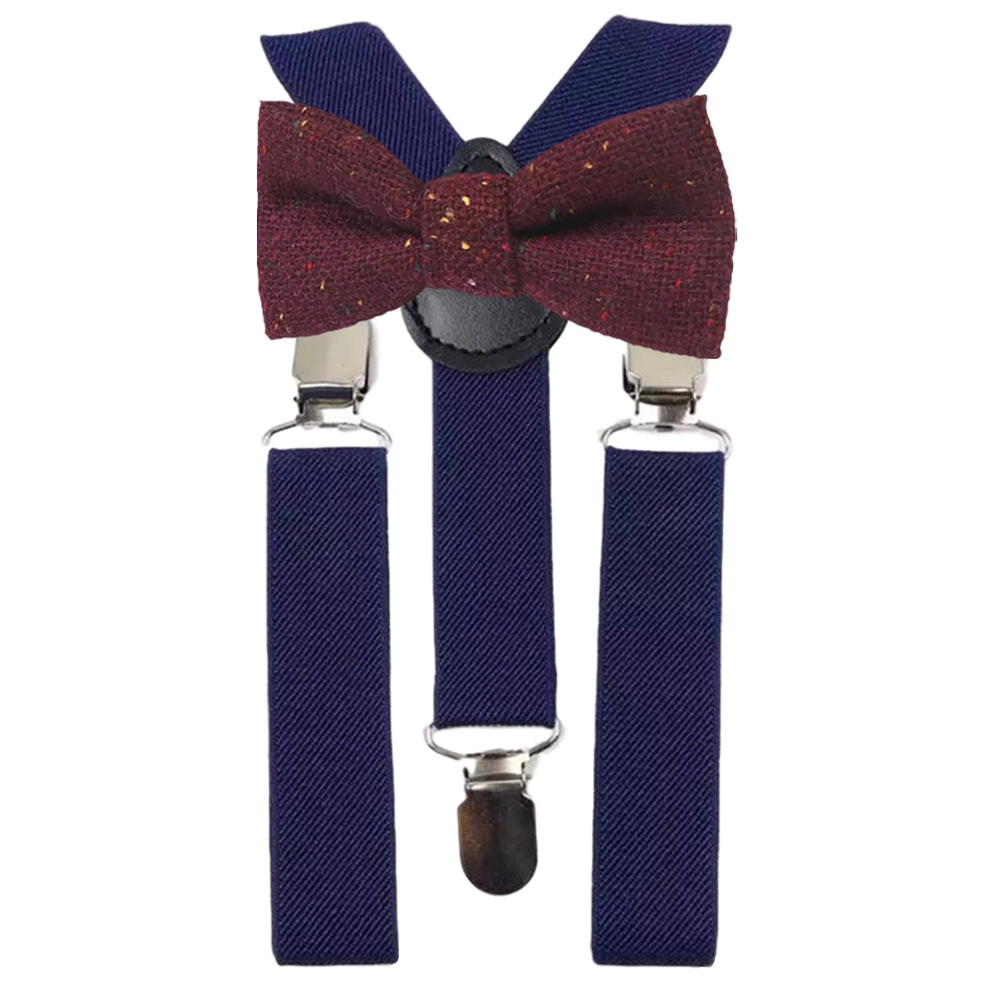 Carter Boys Burgundy Red Tweed Bow Tie and Navy Blue Braces