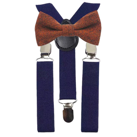 Charlie Burnt Orange Boys Bow Tie and Navy Braces | Dickie Bow