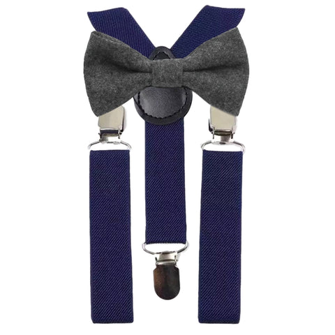 Jessica Boys Charcoal Grey Tweed Bow Tie and Navy Blue Braces