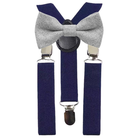 Laurie Boys Light Grey Tweed Bow Tie and Navy Blue Braces