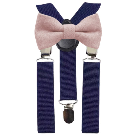 Leah Boys Dusty Pink Bow Tie and Navy Braces