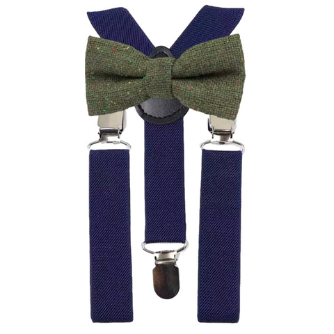 Olive Boys Green Tweed Bow Tie and Navy Blue Braces