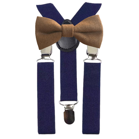 Rufus Boys Brown Bow Tie and Navy Braces
