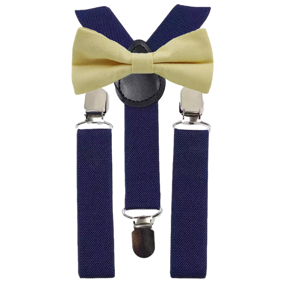 Soleil Boys Yellow Cotton Bow Tie and Navy Blue Braces