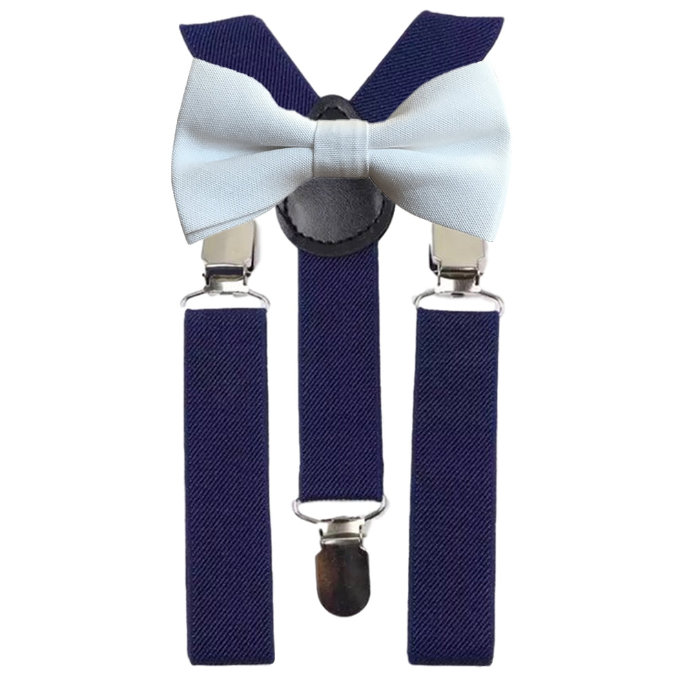 Wilder Boys White Cotton Bow Tie and Navy Blue Braces | Dickie Bow