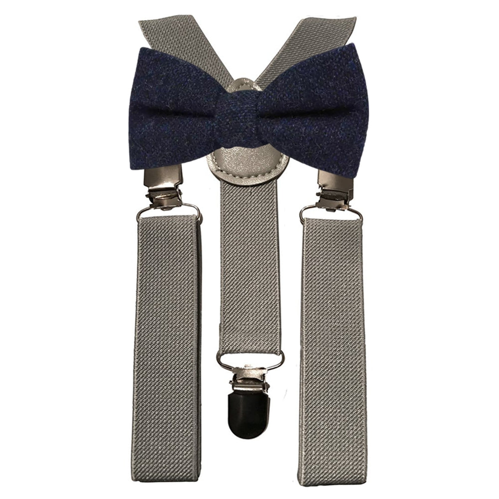 Arthur Boys Navy Blue Tweed Bow Tie and Grey Braces