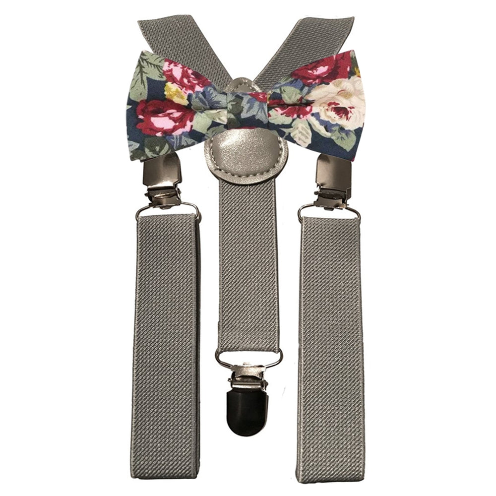 Bobby Boys Blue Floral Cotton Bow Tie and Grey Braces
