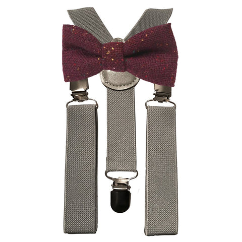 Carter Boys Burgundy Red Tweed Bow Tie and Grey Braces