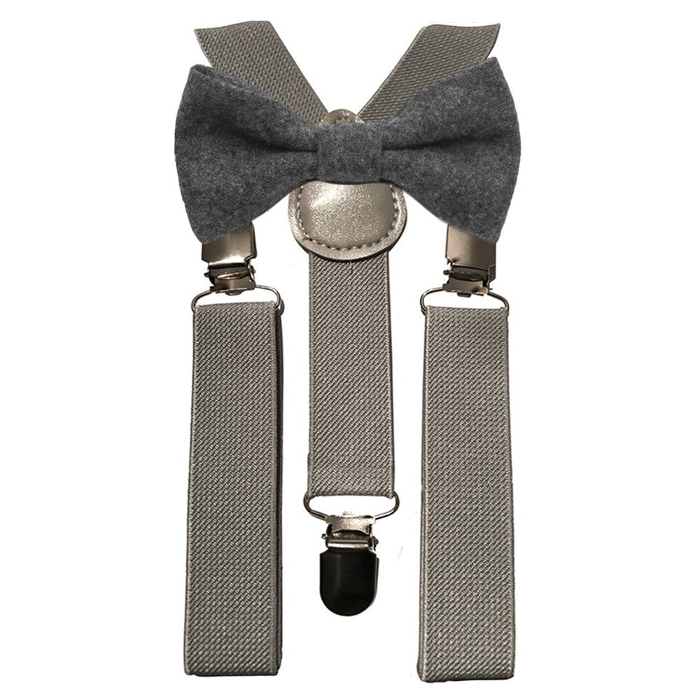 Jessica Boys Charcoal Grey Bow Tie and Grey Braces