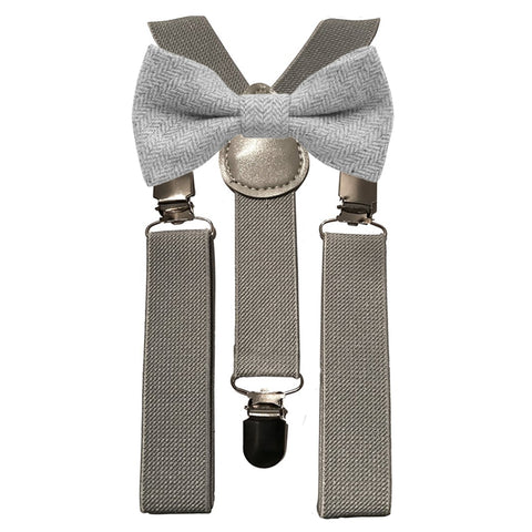 Laurie Boys Light Grey Tweed Bow Tie and Grey Braces | Dickie Bow