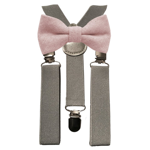 Leah Boys Dusty Pink Bow Tie and Grey Braces