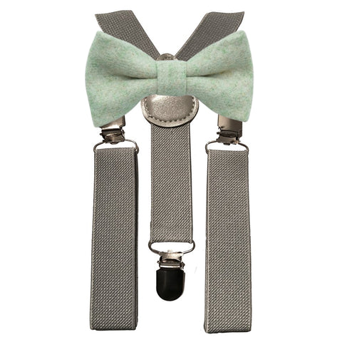 Morris Boys Green Tweed Bow Tie and Grey Braces | Dickie Bow