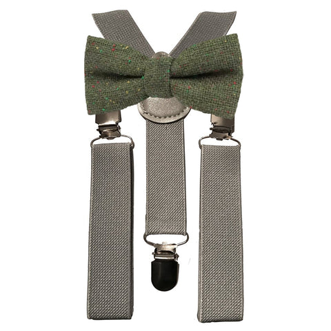 Olive Green Boys Tweed Bow Tie and Grey Braces