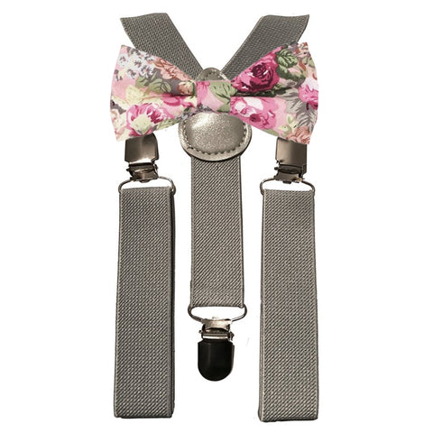 Penelope Boys Pink Floral Cotton Bow Tie and Grey Braces