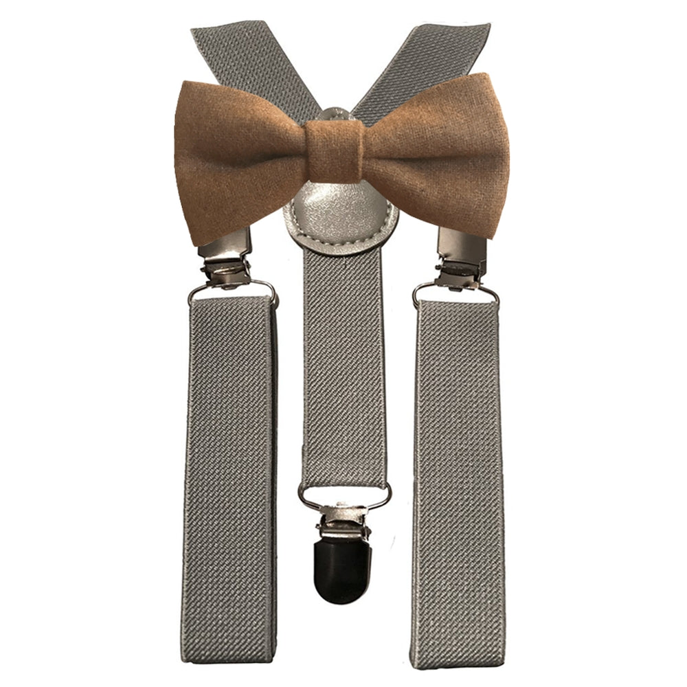Rufus Boys Brown Bow Tie and Grey Braces | Dickie Bow