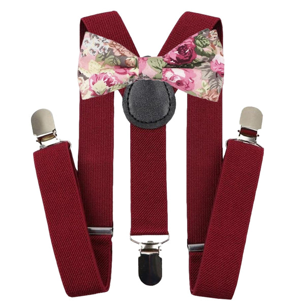 Boys Burgundy Braces & Bow Tie Set